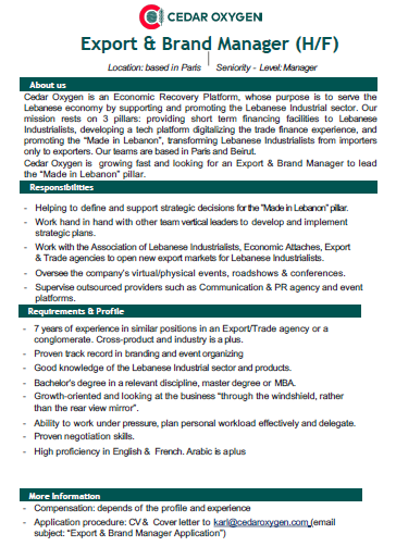 Export & Brand Manager